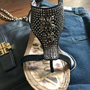 Sam Edelman Black Beaded Cork Wedge Sandals